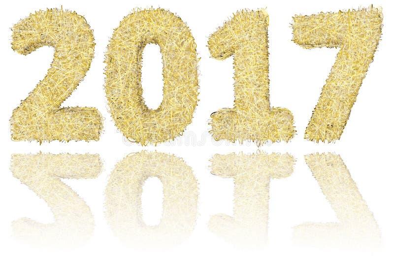 2017 siffror komponerade av guld- och silverband på glansig vit bakgrund royaltyfria foton