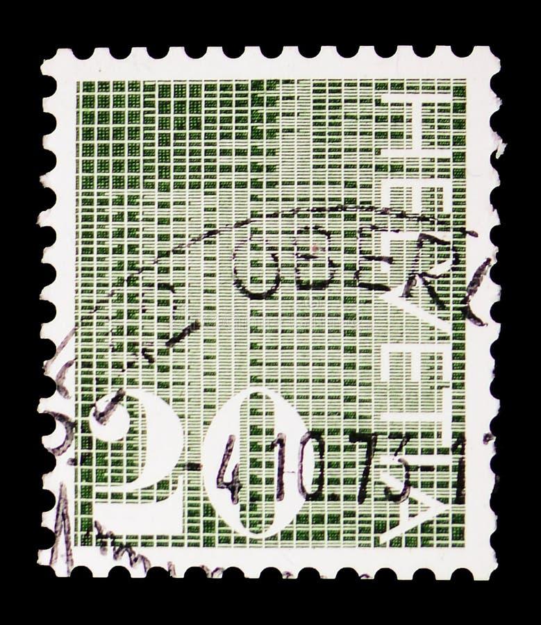 """Siffror \ """"20 \"""" på mönstrad bakgrund, siffer- serie, circa 1970 royaltyfri fotografi"""