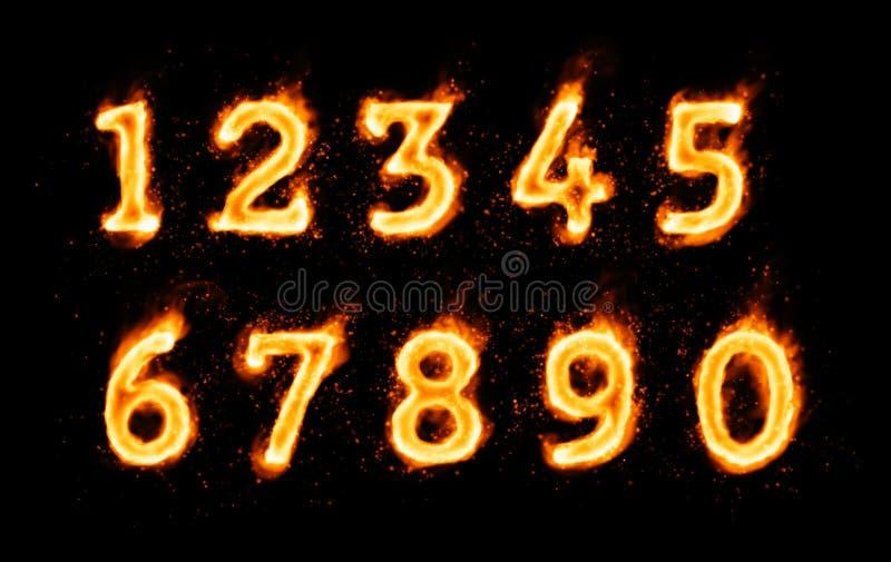 Siffror som flammar symboler på svart bakgrund stock illustrationer
