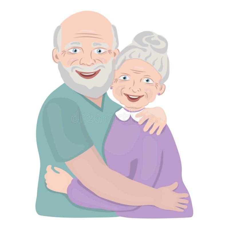 Sig. anziano felice delle coppie Una volta la casa di sig illustrazione vettoriale