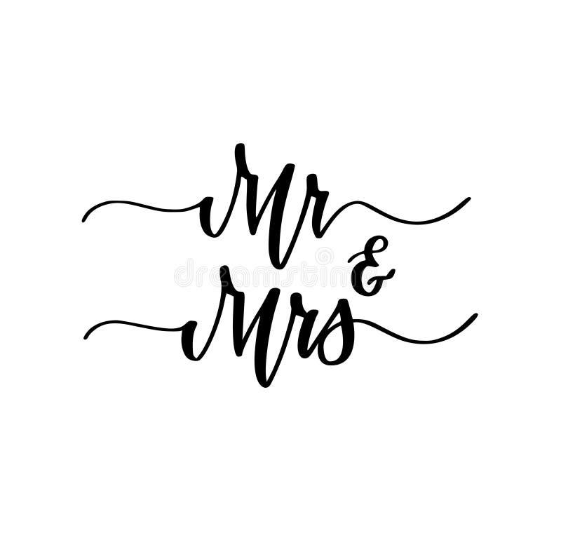 Sig. e sig.ra progettazione dolce di calligrafia del partito di impegno di nozze royalty illustrazione gratis