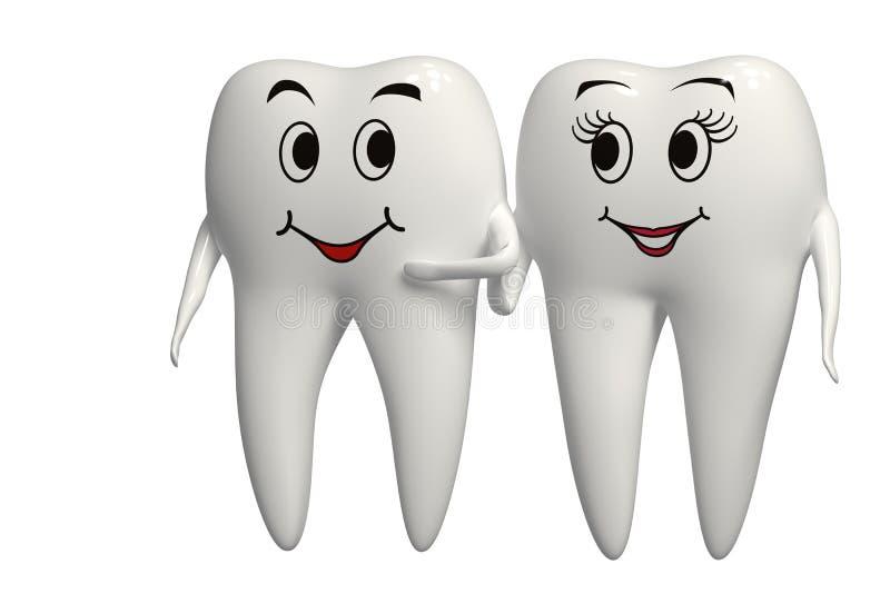 Sig. e sig.ra sorridenti icona del dente di 3d - isolata illustrazione vettoriale