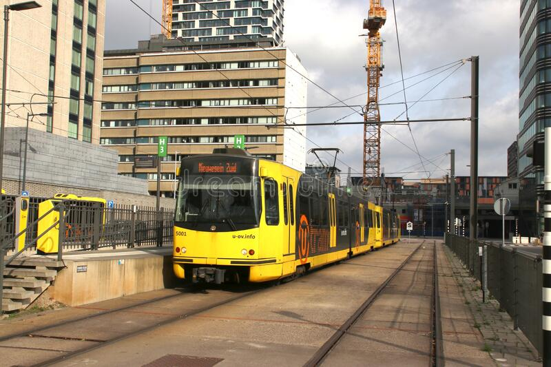 SIG fast street cars named sneltram in the town of Utrecht runned by Qbuzz stock photo