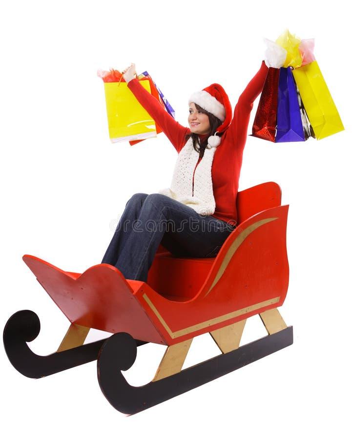 Sig.ra Claus con i sacchetti di acquisto immagini stock