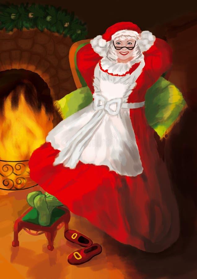 sig.ra Claus con i vetri in un vestito ed in un cappello rossi si siede in una grande poltrona verde illustrazione vettoriale