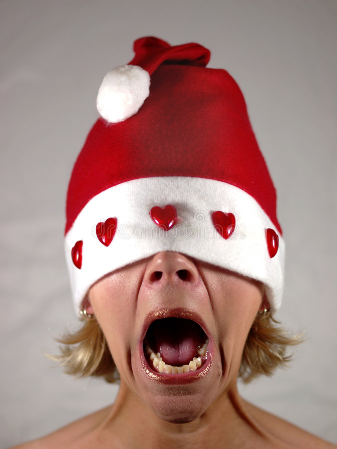 Sig.ra Santa che grida immagine stock libera da diritti