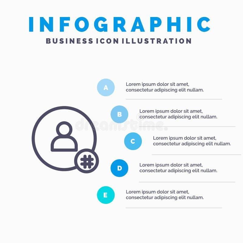 Siga, desmenuce la etiqueta, pío, Twitter, línea icono del contacto con el fondo del infographics de la presentación de 5 pasos ilustración del vector