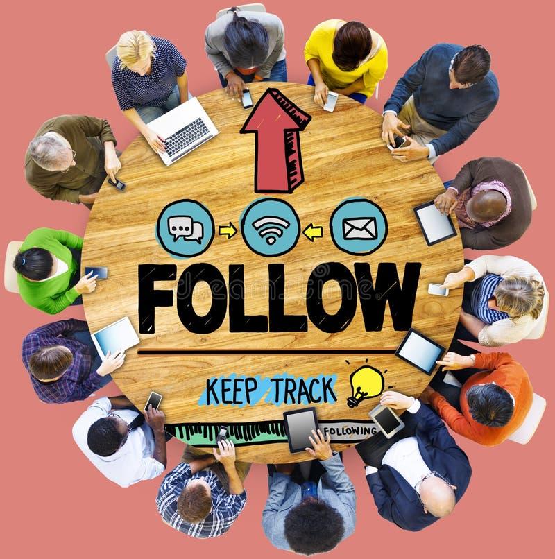 Siga el concepto de conexión de siguiente del Social del establecimiento de una red del seguidor imagen de archivo