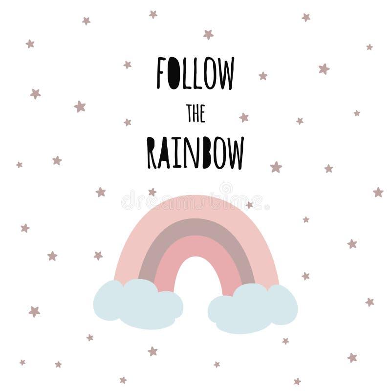Siga el diseño infantil de la frase de los niños del arco iris de la impresión mágica del vector stock de ilustración