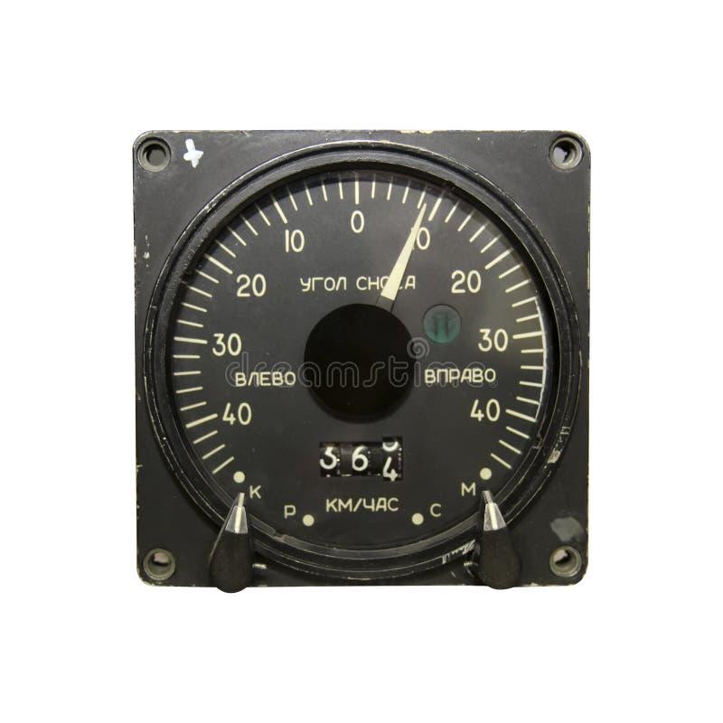 Siga el indicador de velocidad y el ángulo de deriva para el helicóptero imágenes de archivo libres de regalías