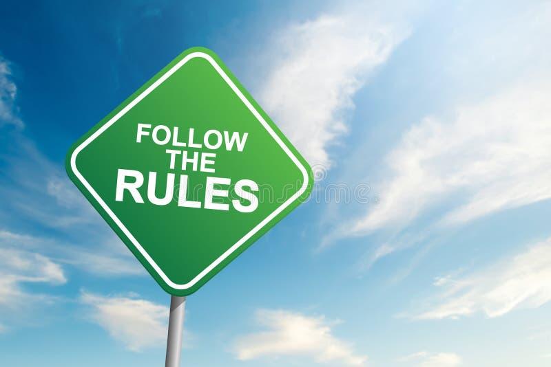 Siga la señal de tráfico de las reglas con el fondo del cielo azul y de la nube imágenes de archivo libres de regalías