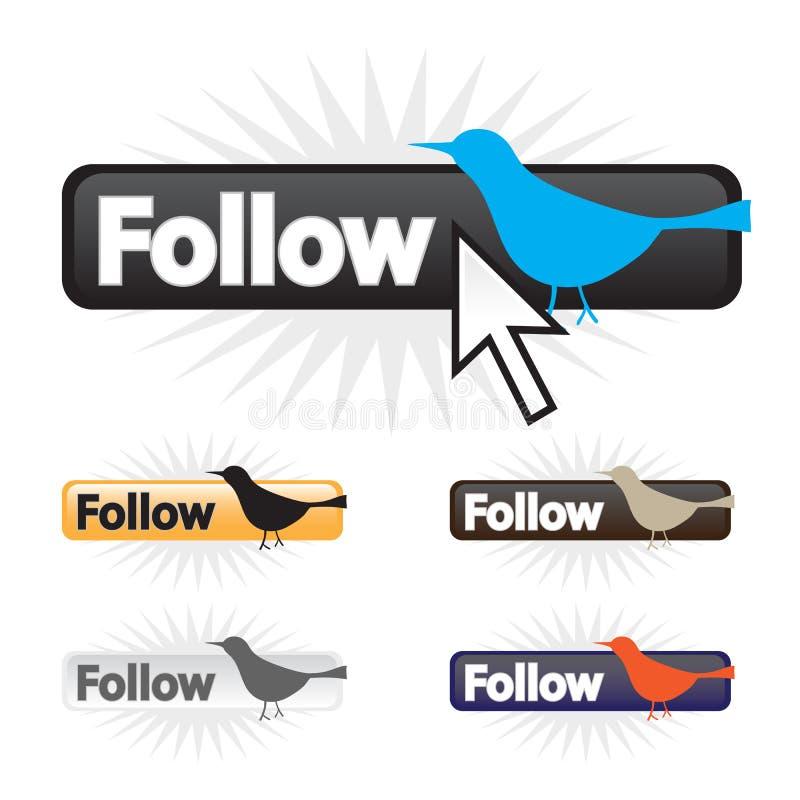 Siga los iconos del pájaro libre illustration