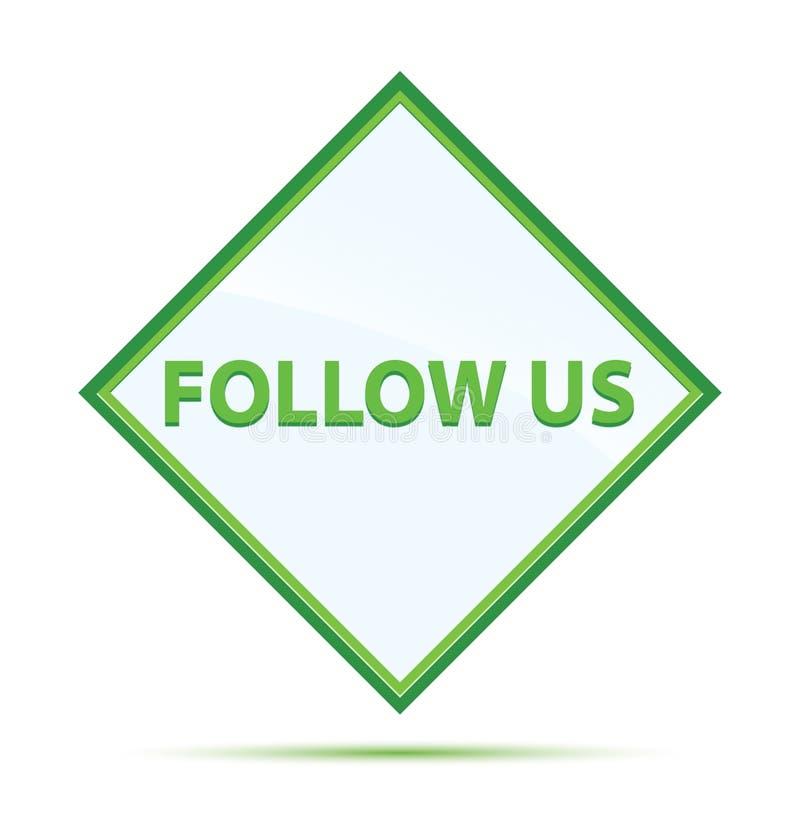 Siga-nos botão verde abstrato moderno do diamante ilustração royalty free