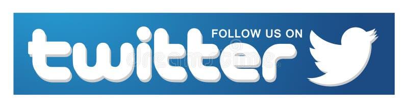 Siga-nos no elemento do vetor do pássaro do ícone do logotipo de Twitter no fundo branco ilustração royalty free