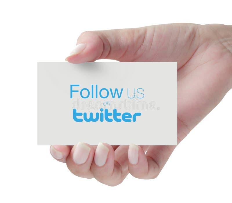 Siga-nos no Twitter imagens de stock royalty free