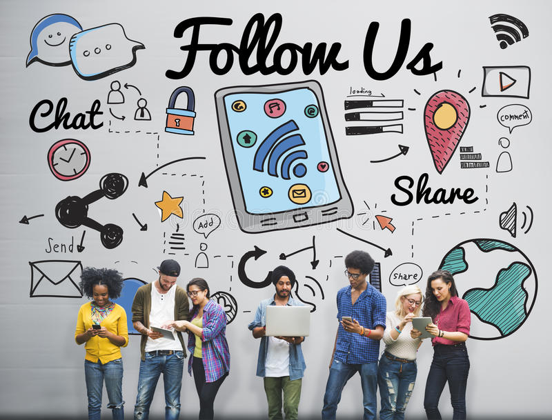 Siga-nos que o seguidor junta-se nos conceito social dos meios imagem de stock