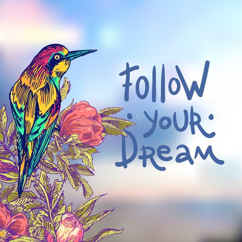 Siga su sueño stock de ilustración