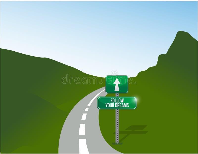 Siga sua ilustração da estrada dos sonhos ilustração do vetor