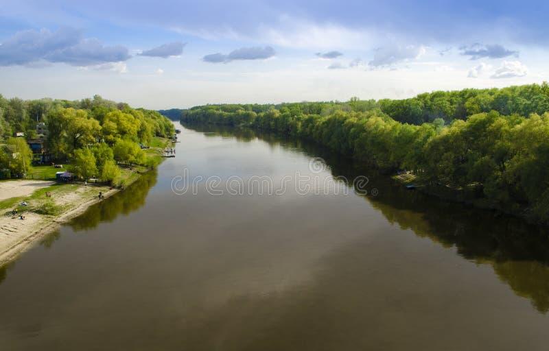 Siga um rio largo com as ?rvores verdes altas nos bancos na perspectiva do c?u azul fotos de stock royalty free