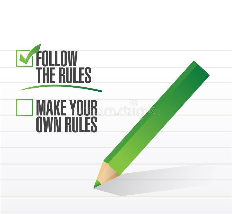 Siga a verificação das regras da aprovação ilustração do vetor
