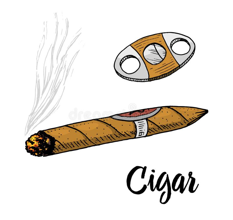Sigaar of rook, herenembleem Slechte gewoonte Klassieke sigaret gegraveerde die hand in oude uitstekende schets wordt getrokken stock illustratie