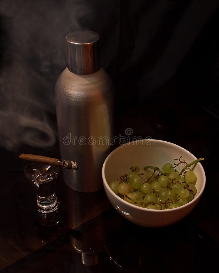 Download Sigar, Vodka, Grape Stock Photo - Image: 3651430