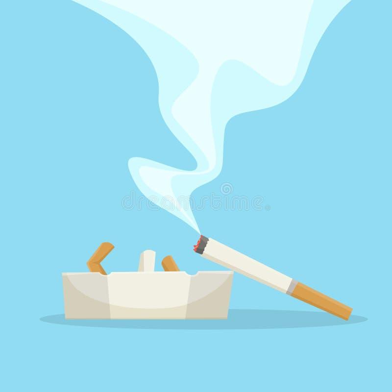 Sigaret met rook die op het asbakje liggen vector illustratie