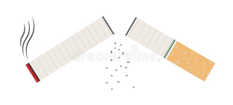 Sigaret op witte achtergrond wordt geïsoleerd die Slechte gewoonte Vertragingen en wapens Verlof van het roken Vector illustratie stock afbeelding