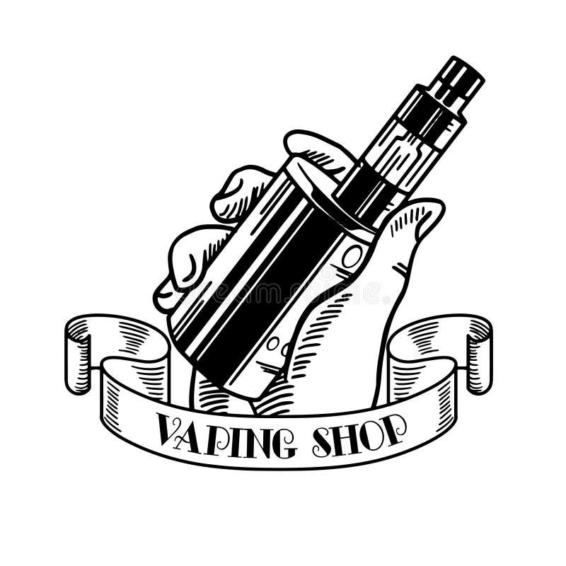 Sigaretta e liquido elettronici, distintivi monocromatici di vettore del negozio di Vape, emblemi royalty illustrazione gratis