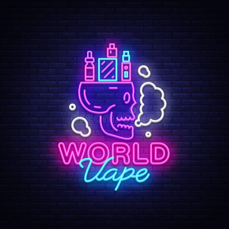 Sigaretta elettronica di logo nello stile al neon Insegna al neon del negozio di Vape, concetto di Vape del mondo con il cranio,  illustrazione di stock