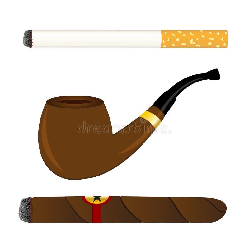 Sigaretta, tubo e sigaro royalty illustrazione gratis