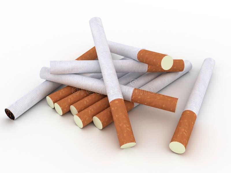 Sigarette isolate su priorità bassa bianca illustrazione vettoriale