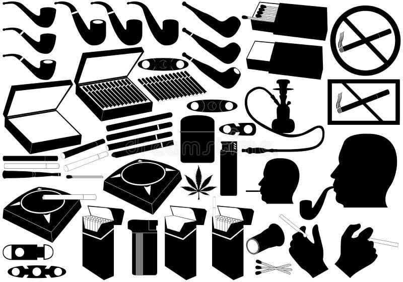 Sigaretten, pijp en sigaren vector illustratie