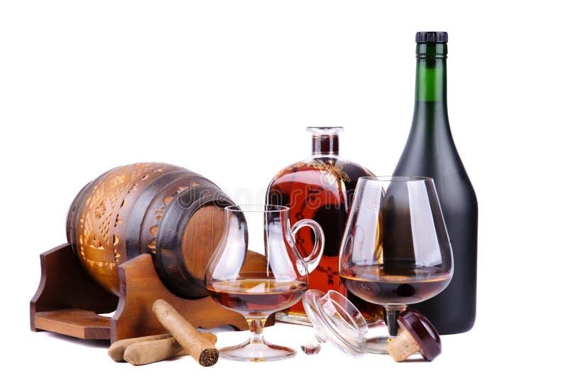 Sigari francesi del cubano e del cognac immagine stock libera da diritti