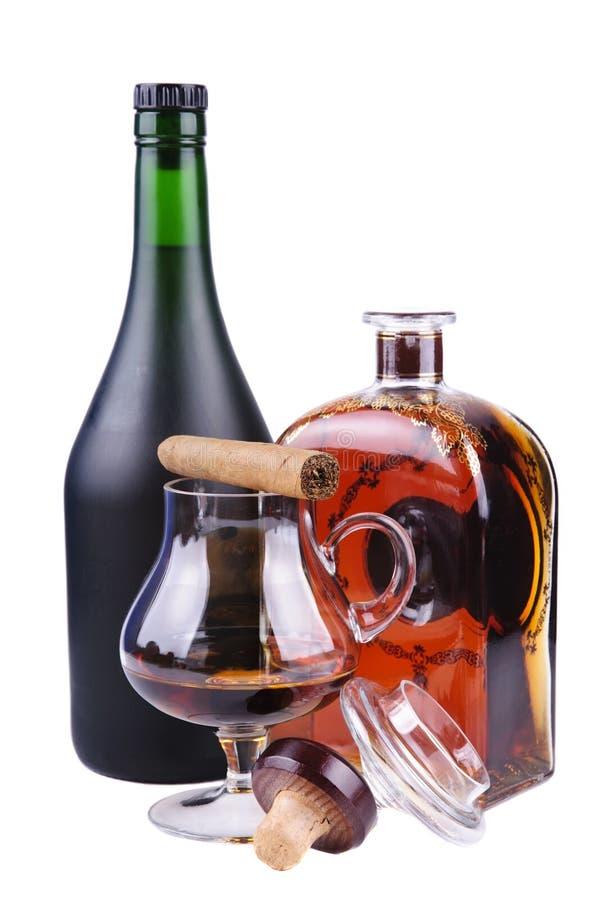 Sigaro e brandy fotografia stock libera da diritti