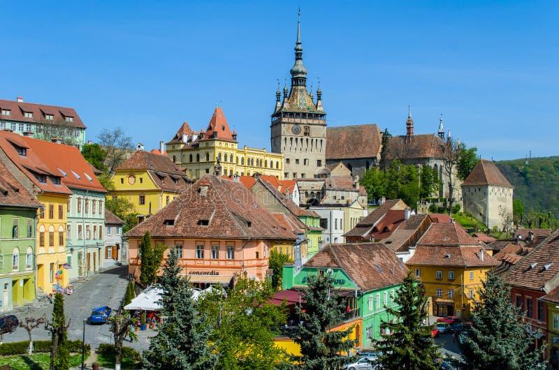 从Sighisoara市,中世纪堡垒,特兰西瓦尼亚, Mures县,罗马尼亚的钟楼 库存图片