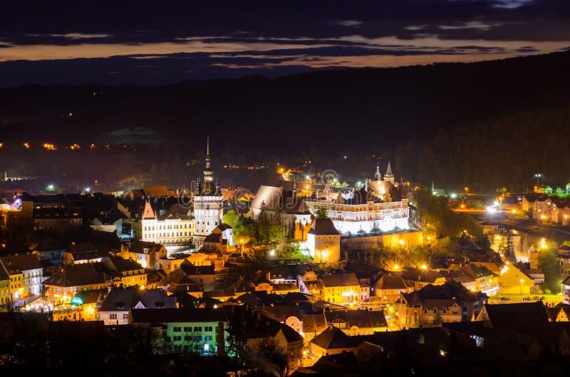 Sighisoara市,特兰西瓦尼亚, Mures县,罗马尼亚全景  免版税库存照片