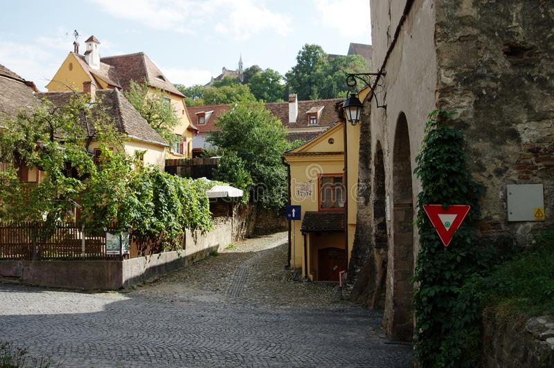 Sighisoara, μεσαιωνική ενισχυμένη πόλη στην Τρανσυλβανία στοκ εικόνες