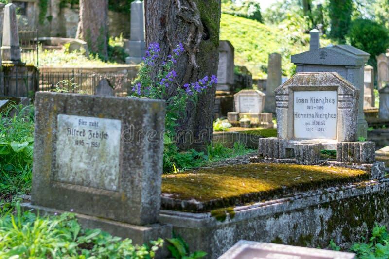 SIGHISOARA, РУМЫНИЯ - 1-ОЕ ИЮЛЯ 2016: Кладбище Saxon, расположенное рядом с церковью на холме в Sighisoara, Румыния стоковые фотографии rf