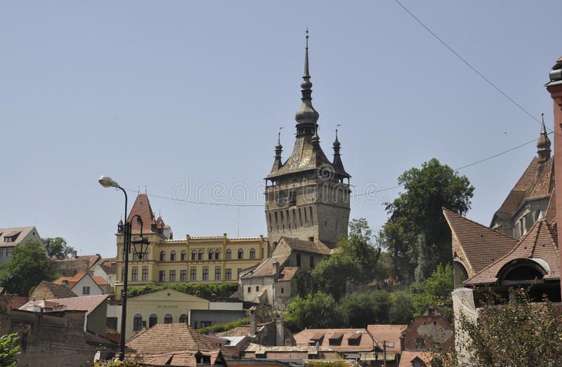 Sighisoara aerial view with the Medieval Citadel`s Main Tower in Romania royalty free stock images