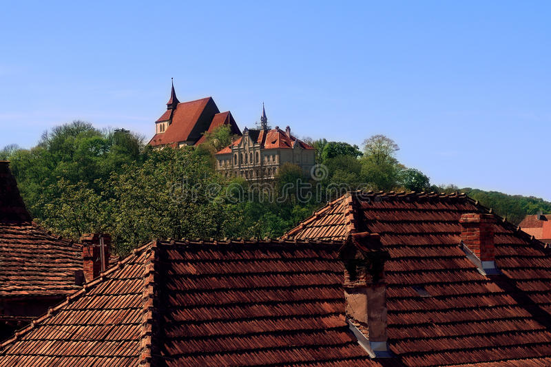 Sighisoara citadel skyline royalty free stock images