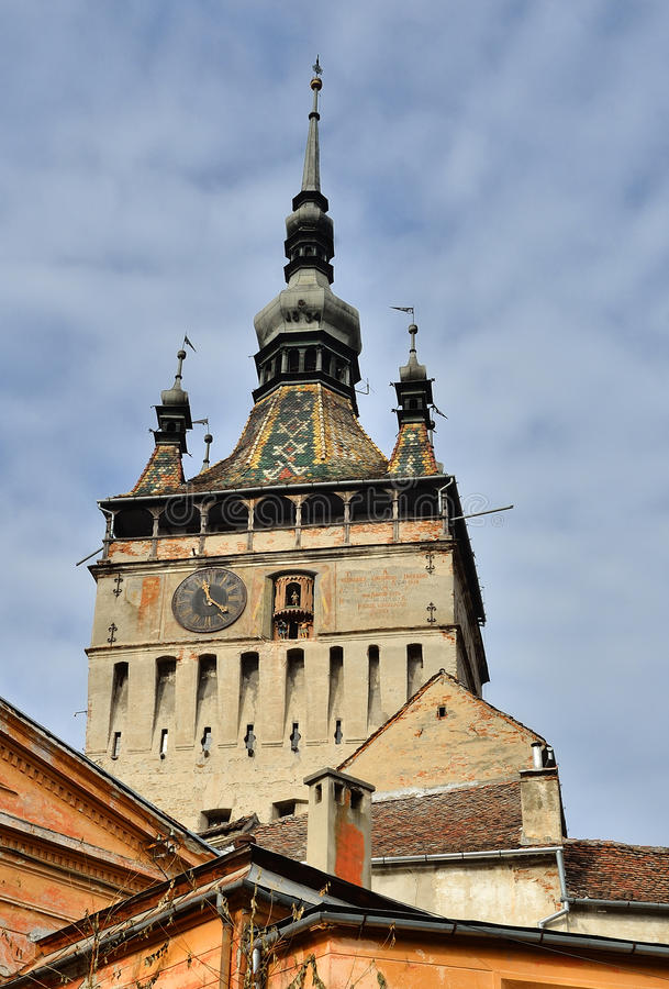Sighisoara, Clock Tower, gothic style architecture. Sighisoara, Clock Tower, saxon landmark of Transylvania in Romania stock images