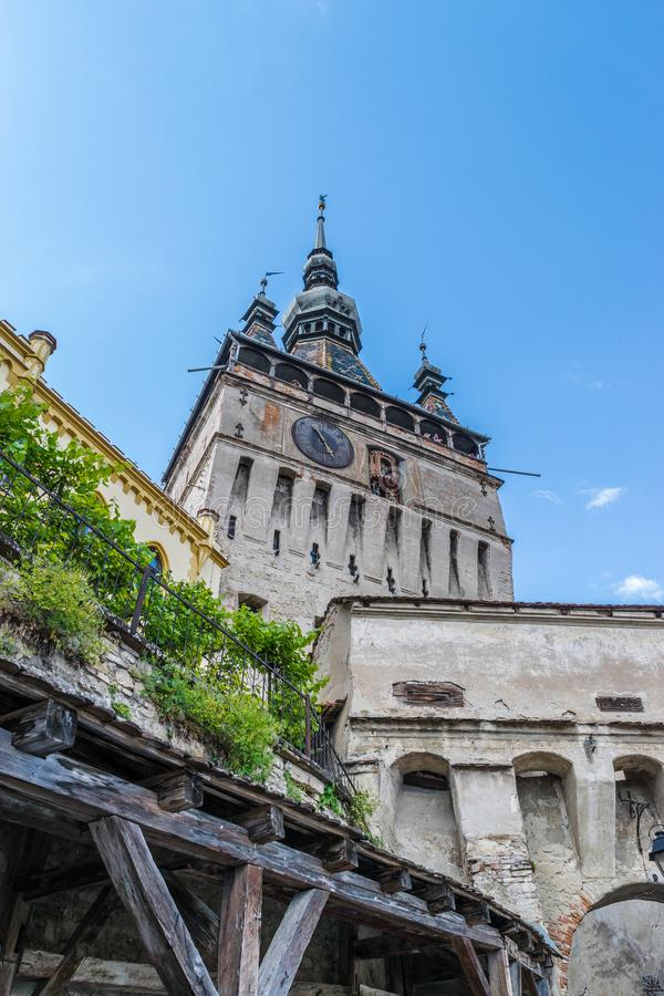 Sighisoara Clock Tower on a sunny day in Transylvania, Romania stock photography