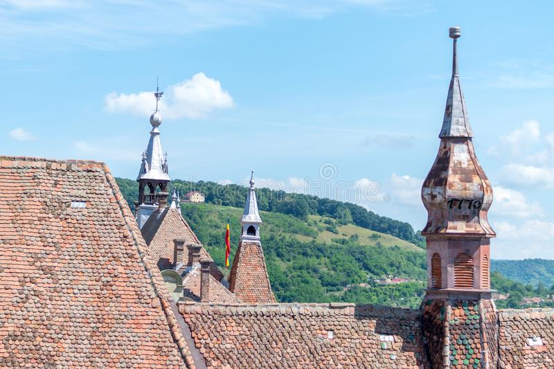 Sighisoara Evangelical Church on a sunny day stock photo