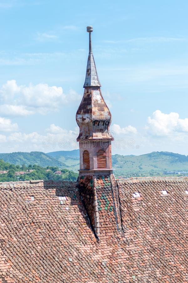 Sighisoara Evangelical Church on a sunny day. stock photography