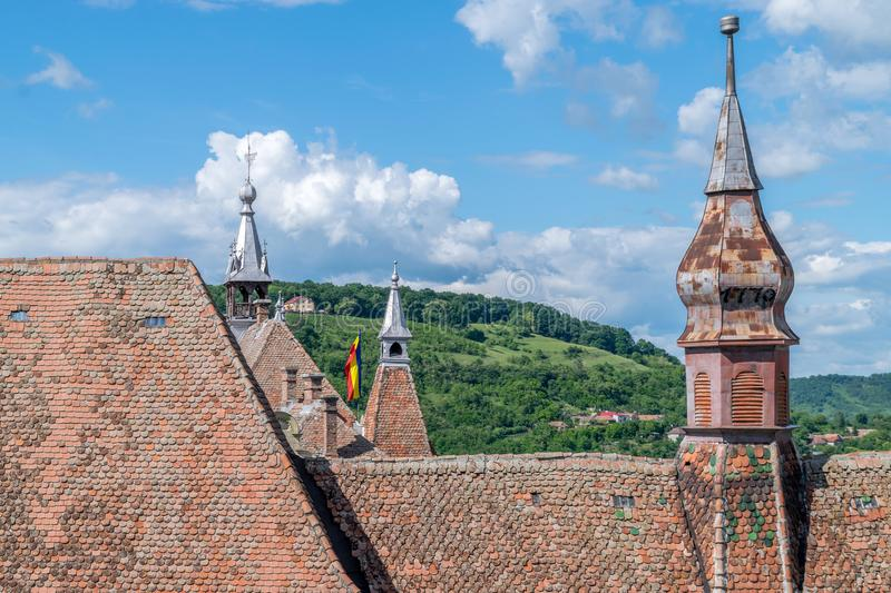 Sighisoara Evangelical Church on a sunny day royalty free stock photography