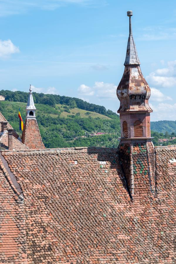 Sighisoara Evangelical Church on a sunny day stock photography
