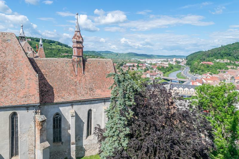 Sighisoara Evangelical Church on a sunny day stock photos