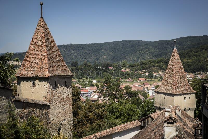 Sighisoara iglicy przegapia miasteczko zdjęcie royalty free