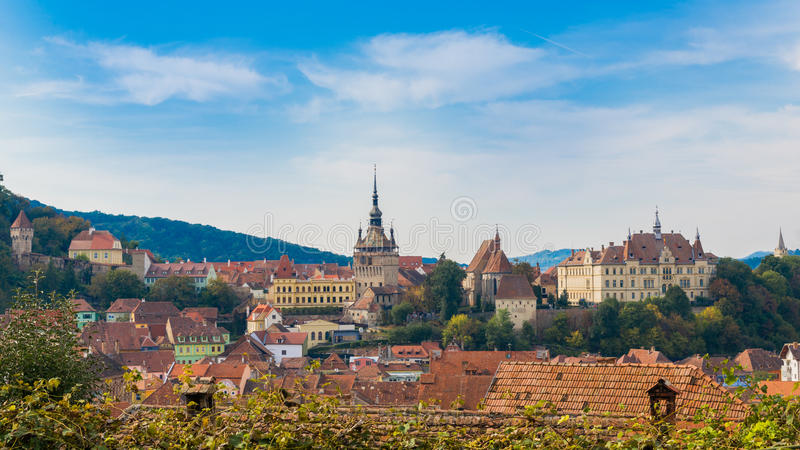 Sighisoara medieval town from the air royalty free stock photos